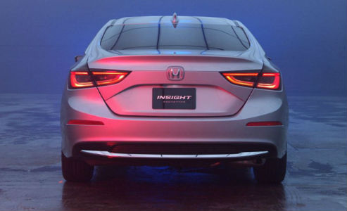 Honda Insight Prototype rear end view with tail lights on