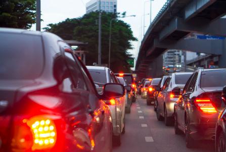 cars braking because of traffic jam