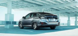 2017 Honda Clarity Electric parked in a structure