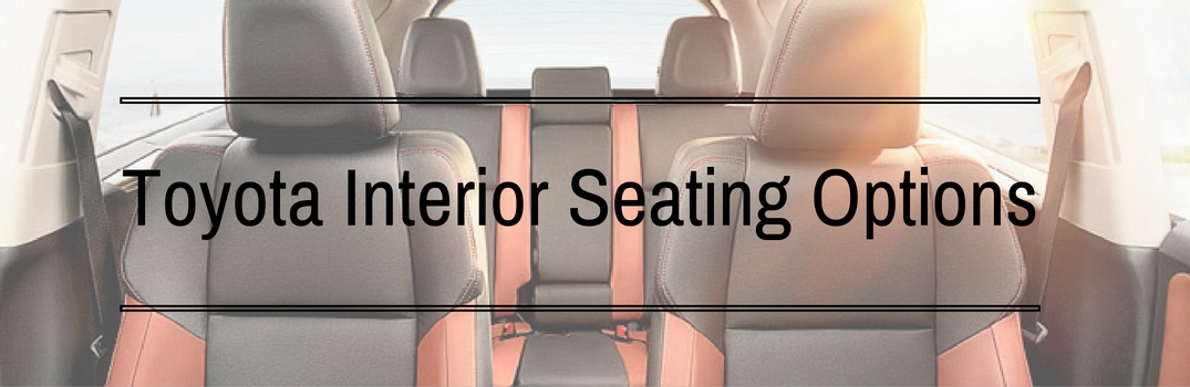 text over an image of seats in a Toyota