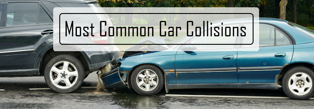 Top 5 Most Common Car Collisions with image of a sedan that rear-ended a van