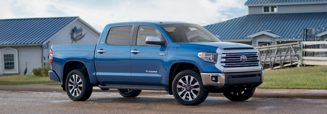 side view of blue 2018 toyota tundra