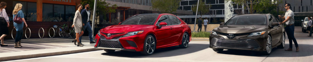 Two 2019 Toyota Camry models parked in front of buildings