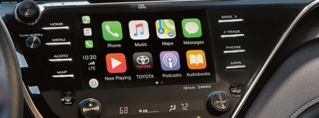 Isolated view of EnTune infotainment system inside 2019 Corolla