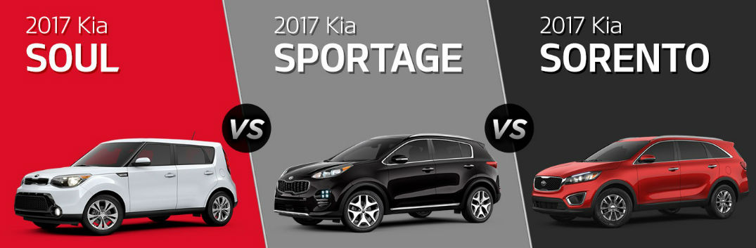 2017 kia sorento vs 2017 kia sportage vs 2017 kia soul. Black Bedroom Furniture Sets. Home Design Ideas