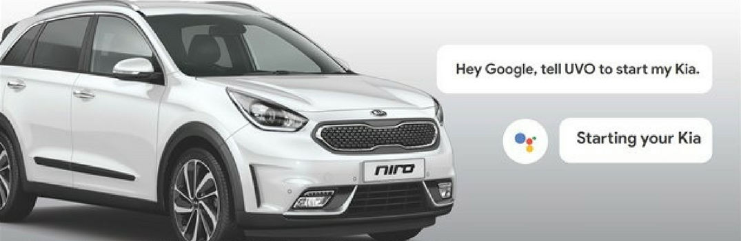 Picture of Kia Niro with Google Assistant speech bubbles