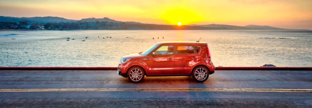 2019 Kia Soul driving in front of sunset