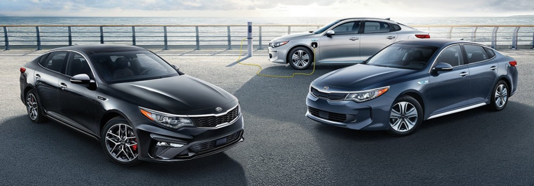 3 2019 Kia Optima models parked beside each other