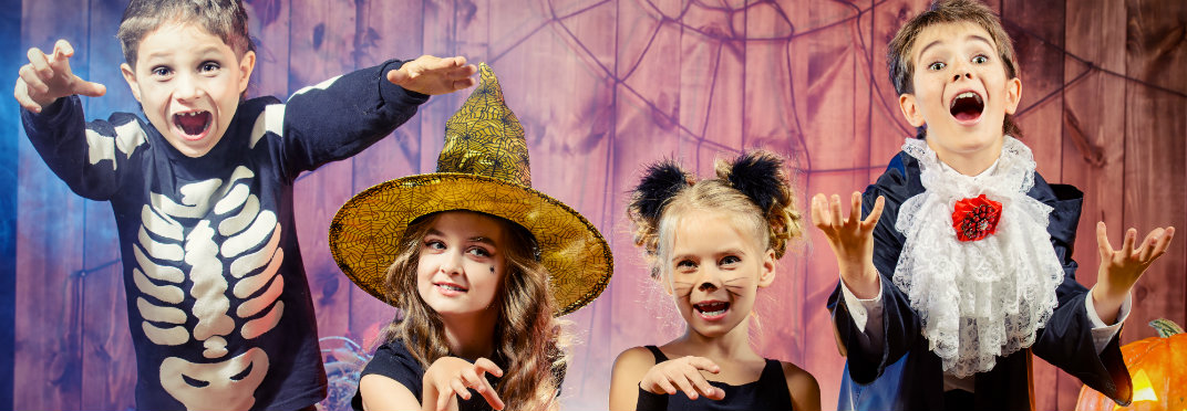 Kids dressed up in crazy costumes for Halloween