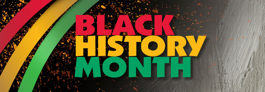 graphic of black history month with red yellow and green