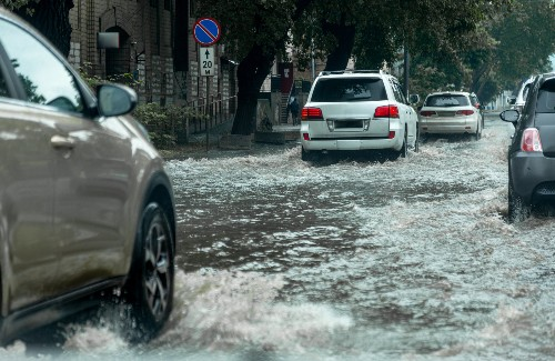 driving through flooded street