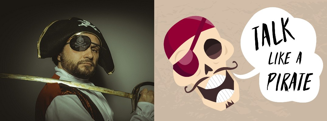 Man dressed as pirate and skeleton with Talk Like A Pirate in text