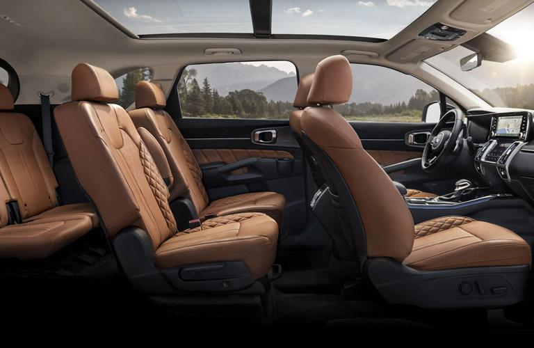Side view inside a 2021 Kia Sorento
