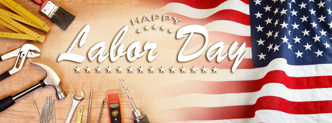 Labor Day graphic with American flag paintbrush and tools