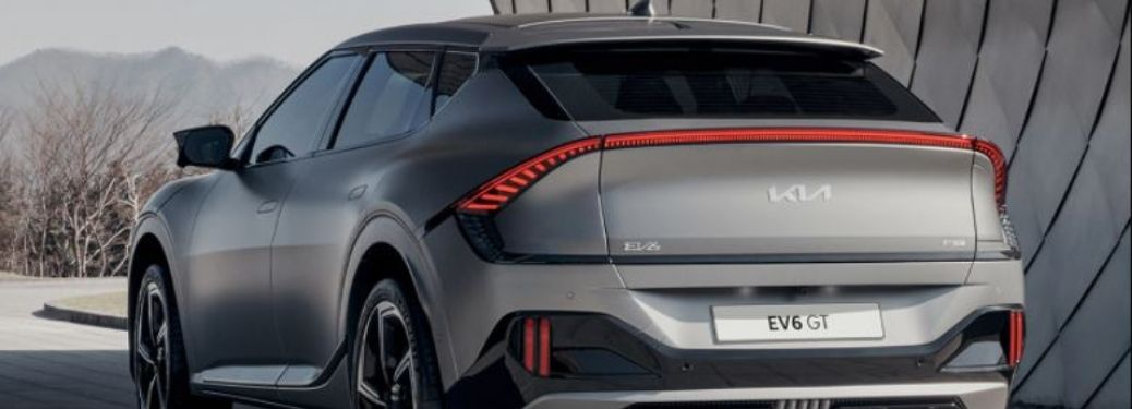 Rear view of the 2022 Kia EV6 GT electric crossover