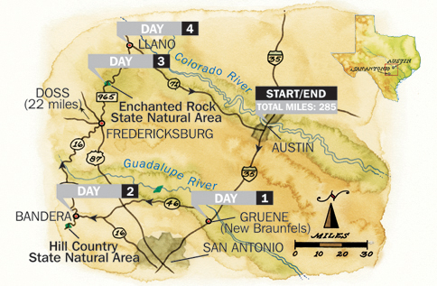 Texas Hill Country Road Trip Map