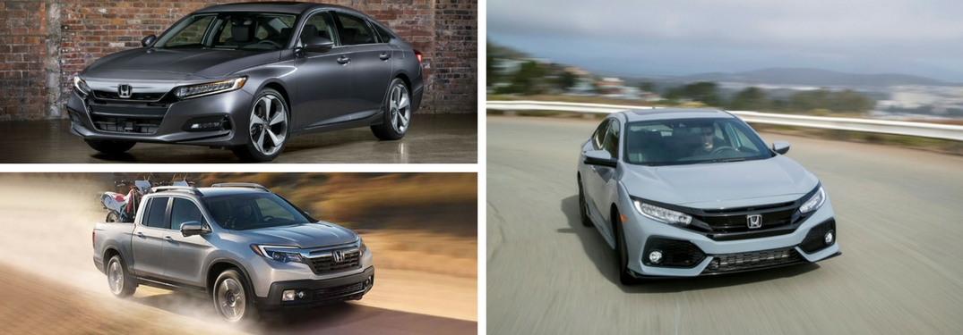 Collage of 2018 Honda Models including 2018 Honda Accord, Civic Hatchback and Ridgeline