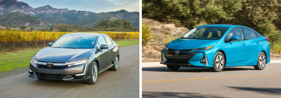 2018 Honda Clarity Plug-In Hybrid vs 2018 Toyota Prius Prime exterior front view of both cars