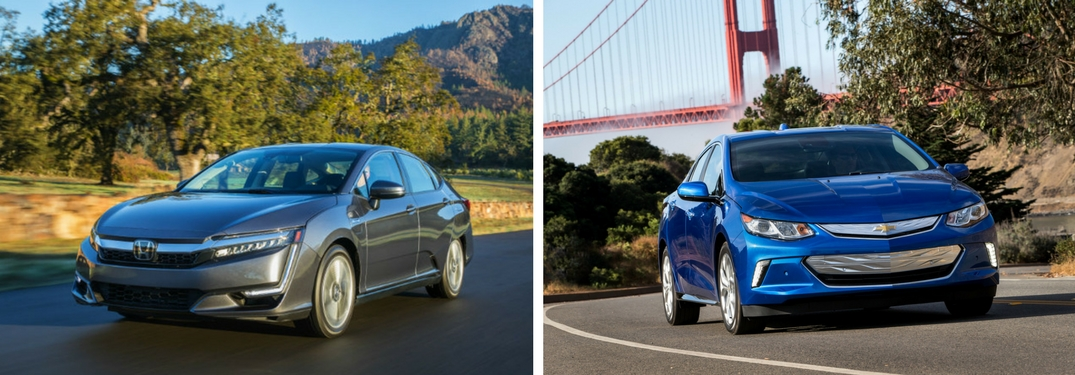 2018 Honda Clarity Plug-In Hybrid vs 2018 Chevy Volt front exterior images of both cars