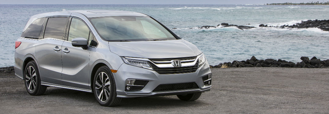 Silver 2019 Honda Odyssey Parked Next to the Ocean