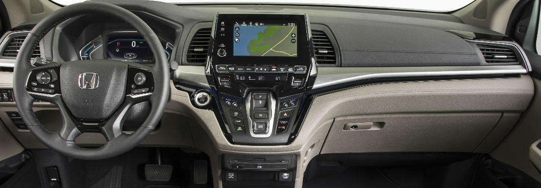2019 Honda Odyssey Dashboard with a Display Audio Navigation System in Use