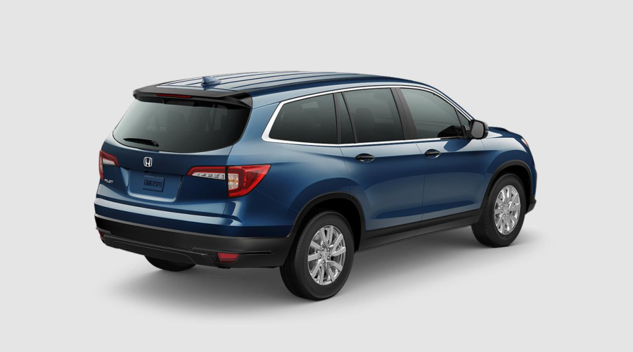 Steel Sapphire 2019 Honda Pilot Rear Exterior on a White Background
