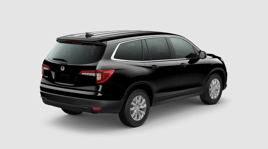 Crystal Black 2019 Honda Pilot Rear Exterior on a White Background