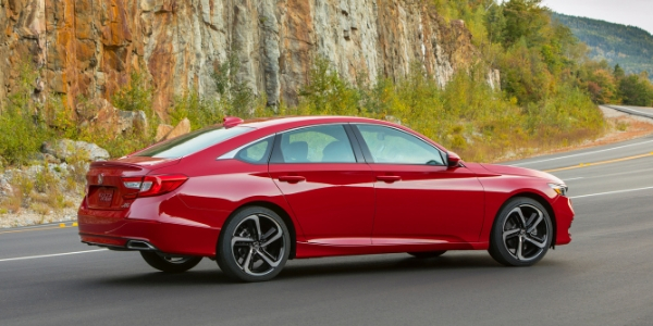 Red 2019 Honda Accord Sport 2.0T Rear Exterior on a Country Road