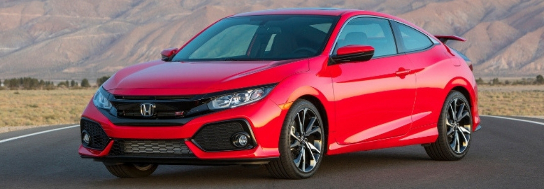 Red 2019 Honda Civic Si Front Exterior on Desert Highway