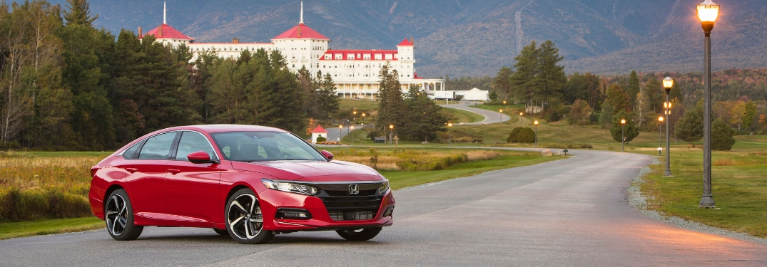 Red 2019 Honda Accord on a Country Road with Large White Building in the Background