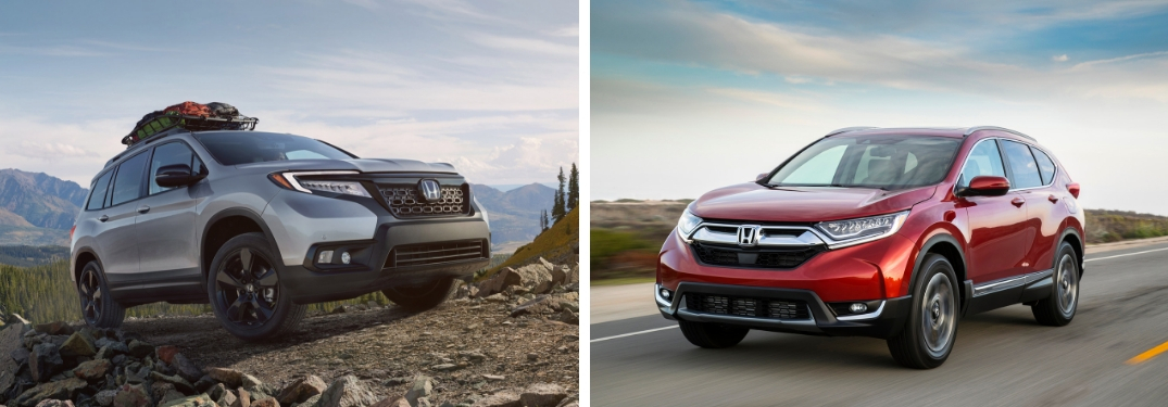 Gray 2019 Honda Passport on Rocky Trail vs Red 2019 Honda CR-V on a Highway