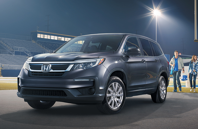 Black 2019 Honda Pilot at a Stadium