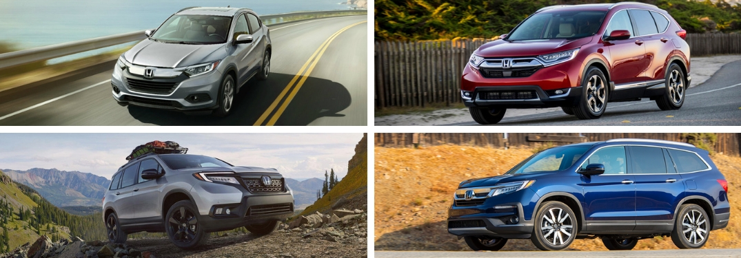 Silver 2019 Honda HR-V on a Coast Road, Red 2019 Honda CR-V on a Highway, Silver 2019 Honda Passport on a Rocky Trail and Blue 2019 Honda Pilot on Desert Highway