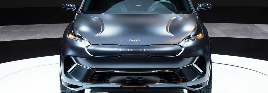 2018 kia niro ev concept front grille and fascia with hello ces message spelled out on electric led display