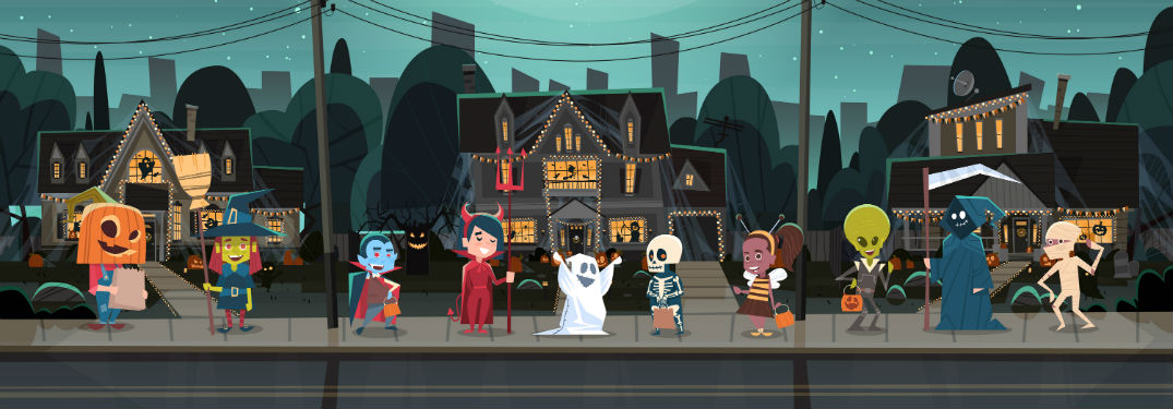 cartoon group of trick-or-treaters in front of scary house