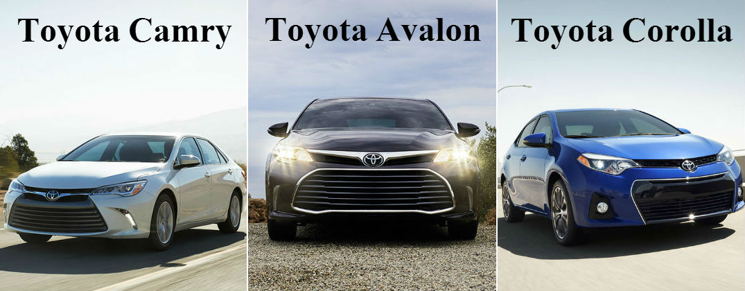 2016 Toyota Camry vs 2016 Toyota Avalon vs 2016 Toyota Corolla at Downeast Toyota-Bangor ME-Camry vs Avalon vs Corolla Front End