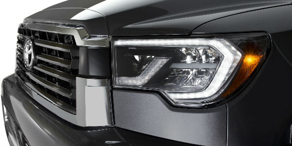 Close Up of 2018 Toyota Sequoia TRD Sport Headlights and Grille
