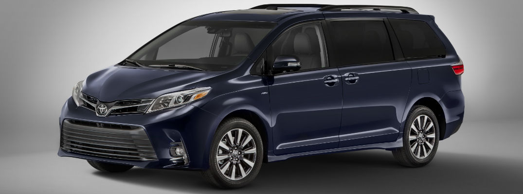 toyota sienna 2018 release date. modren date blue 2018 toyota sienna front and side exterior on gray background with toyota sienna release date downeast