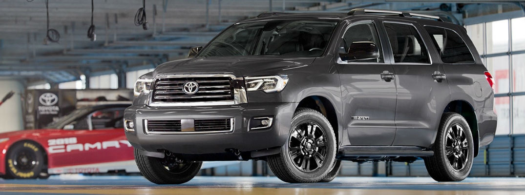 Gray 2018 Toyota Sequoia TRD Sport Front and Side Exterior in Toyota Garage