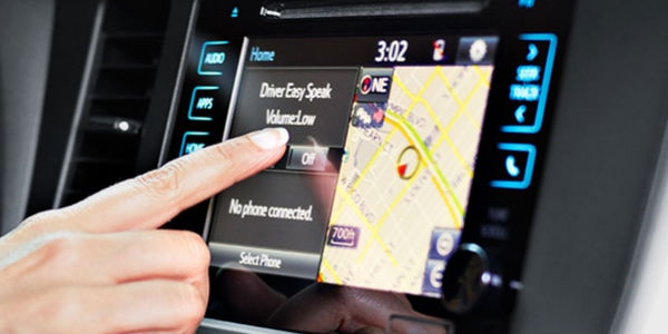 Close Up of Finger Activating Driver Easy Speak on Toyota Entune Touchscreen