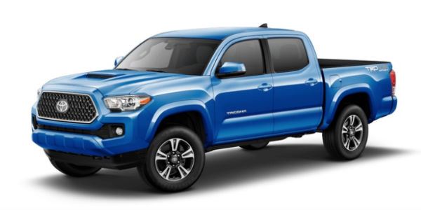 Blazing Blue Pearl 2018 Toyota Tacoma Exterior on White Background