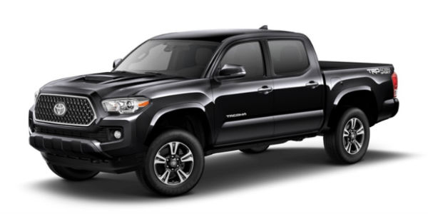 Midnight Black Metallic 2018 Toyota Tacoma Exterior on White Background