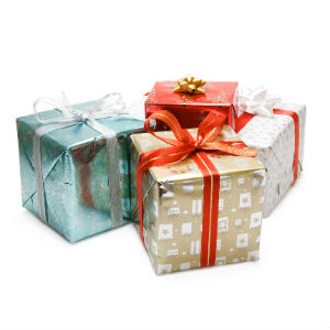 4Christmas Gifts Wrapped in blue, Gold, White and Red Wrapping Paper