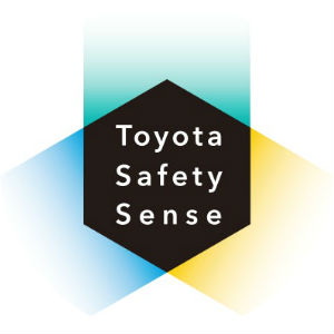 Green, Blue and Yellow Toyota Safety Sense Logo with Center Black Hexagon with Toyota Safety Sense Text