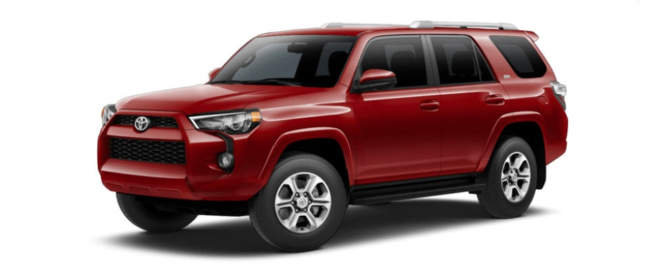 Barcelona Red Metallic 2018 Toyota 4Runner Exterior on White Background