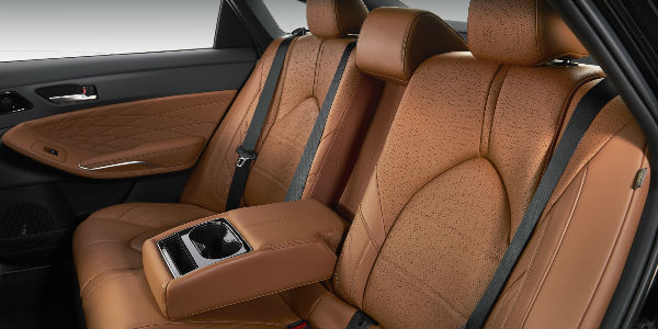 Tan 2019 Toyota Avalon Limited Premium Leather Rear Interior with Center Armrest Down