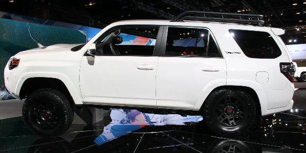 Super White 2019 Toyota 4Runner TRD Pro Side Exterior on Stage at Chicago Auto Show