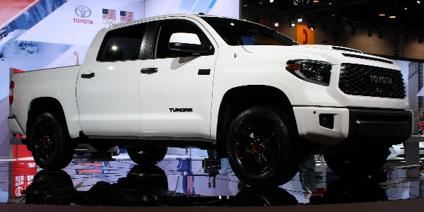 Super White 2019 Toyota Tundra TRD Pro on Stage at Chicago Auto Show