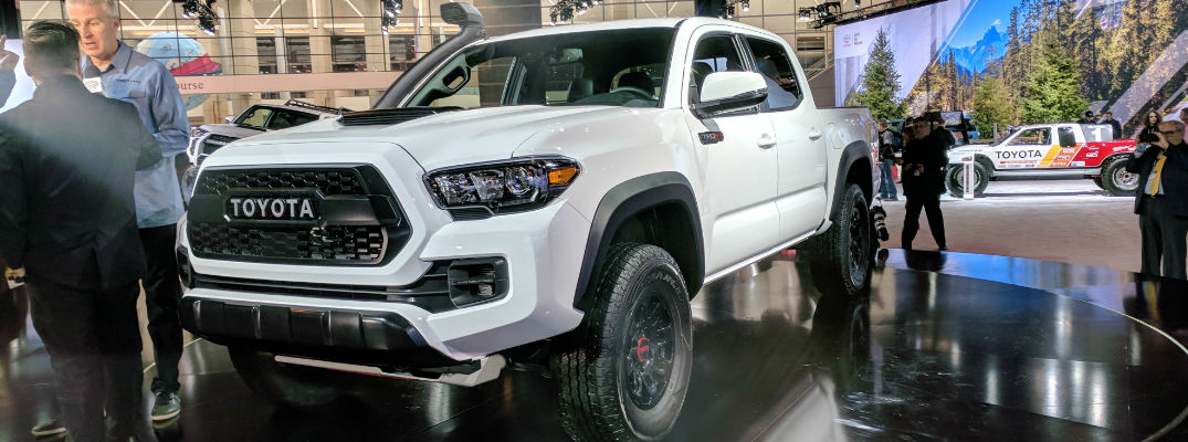 Super White 2019 Toyota Tacoma TRD Pro Front Exterior on Stage at Chicago Auto Show