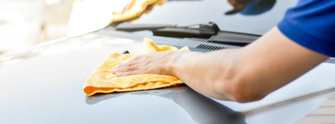 Arm Cleaning the Hood of a Car with Yellow Cloth